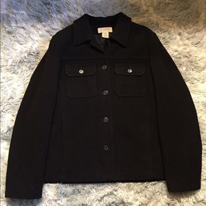 J Crew Women's Black Wool Jacket Size L